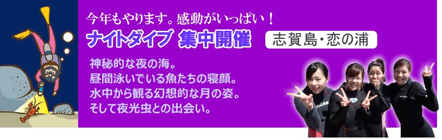 福岡のトリトンが実施するナイトダイビング集中開催コース